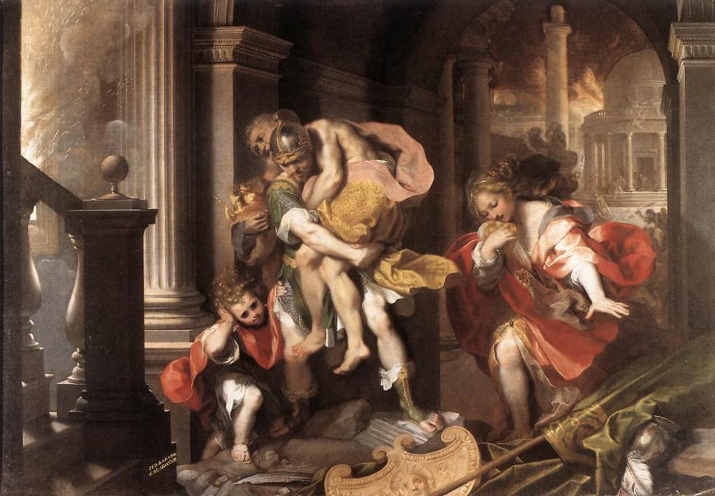 Aeneas Flees Burning Troy (1598) by Federico Barocci
