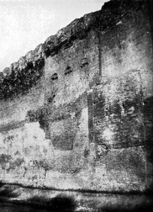 The red-brick tower with three windows is part of Sejanus' Castra Praetoria. It was incorporated into the surrounding Aurelian Walls in the 270s.