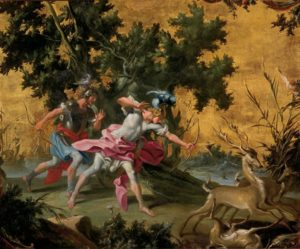 Aeneas and Achates hunting stags on the coast of Libya, Filippo Falciatore (18th century)