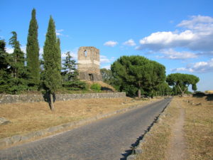 The ancient Via Appiana, near Bovillae, and where the altercation between Milo's and Clodius' gangs took place. The building on the left is the Tor Leonardo.