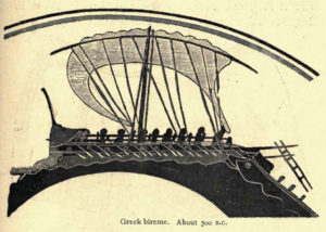Greek bireme circa 500BC, image from a Greek vase in the British Museum, which was found at Vulci in Etruria.