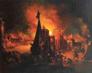 The Burning of Troy (1759/62), oil painting by Johann Georg Trautmann