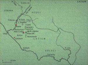 Map of Latium showing Lavinium, Alba Longa and Rome.