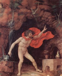 Parnas, Vulcan, god of fire, by Andrea Mantegna (1497)