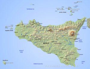 Map of modern Sicily.