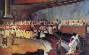 Cicero Denounces Catiline at the Senate. Painting by Cesare Maccari in 1889 (Palazzo Madama)