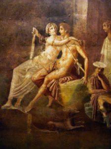 Dido and Aeneas, from a Roman fresco, Pompeian Third Style (10 BC - 45 AD), Pompeii, Italy