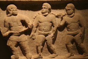 Roman collared slaves (Ashmolean Museum)