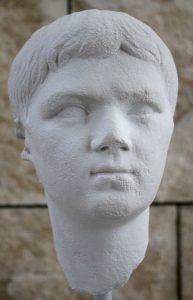 Rome, Ara Pacis museum: cast of a portrait of Lucius Caesar, grandchild and adoptive son of Augustus.