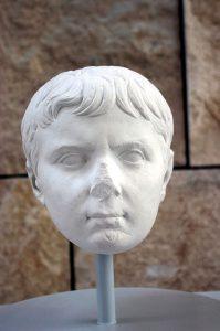Rome, Ara Pacis museum: cast of a portrait of Caius Caesar, grandchild and adoptive son of Augustus.