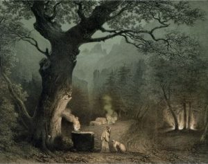 The Sacred Grove of the Druids (The French School, 19th century engraving)