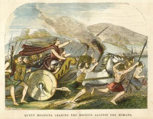 Queen Boadicea leading the Britons against the Romans