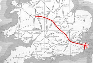 General route of Watling Street overlaid on an outdated map of the Roman road network in Britain