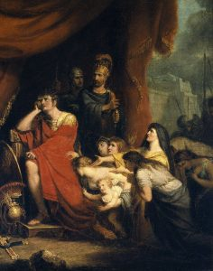 An 1800 painting by Richard Westall of Volumnia pleading with Coriolanus not to destroy Rome.